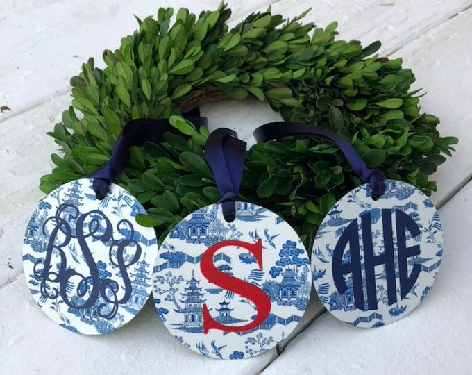 Monogram Christmas Ornament Blue and White Toile Chinoiserie Ornament with Monogram Christmas Gift Holiday Seasonal Secret Santa Gift
