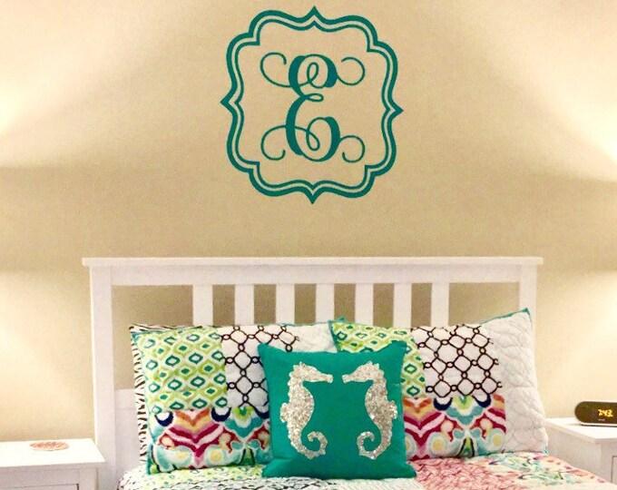 Single Vine Letter Monogram in Frame Girls Nursery Bedroom Teen Personalized Custom Housewares Vinyl Wall Decal