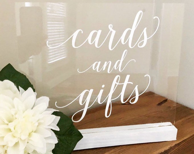 Cards and Gifts Decal Wedding Sign Decal Vinyl for Wedding Cards Box Sign Cards Decal Gifts Vinyl Elegant Wedding Decor DIY Lettering