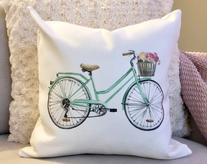 Spring Pillow Cover Bicycle with Flowers in Basket Spring Decor Spring Pillowcase Floral Bike Rustic Home Decor 16x16  Easter Pillow Cover