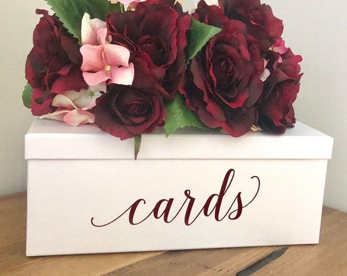 Cards Wedding Decal Vinyl Decor Fall Wedding Burgundy Cards Box Wedding Cards Box Decal Baby Shower Bridal Shower Fall Wedding