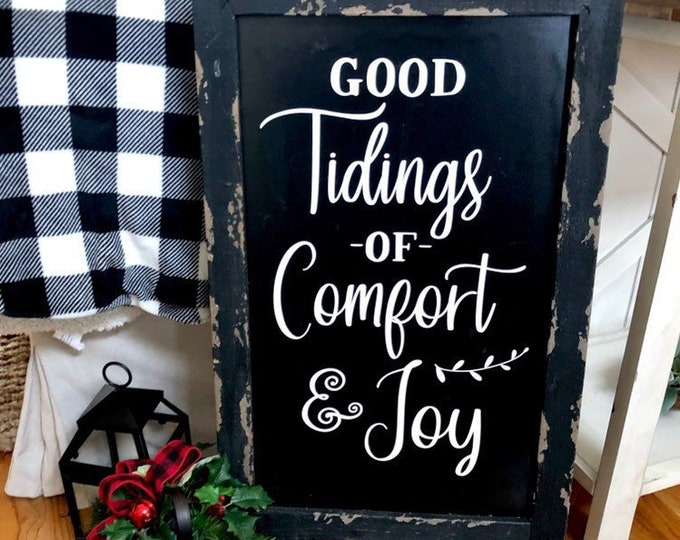 Good Tidings of Comfort and Joy Vinyl Decal for Christmas Sign DIY Lettering for Rustic Holiday Decorations Christmas Decor Farmhouse Style
