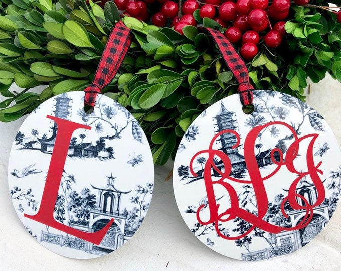 Monogram Christmas Ornament Black and White Toile Chinoiserie Ornament with Monogram Christmas Gift Holiday Seasonal Secret Santa Gift