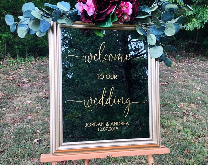 Wedding Welcome Decal Vinyl Decal for Wedding Modern Wedding Sign Vinyl Burgundy Wedding Gold Wedding Decal for Sign Personalized Decor