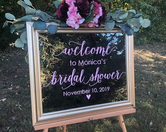 Bridal Shower Decal for Mirror Sign Vinyl Decal for Bridal Shower Blush Decal Welcome Shower Decor Elegant Decal Burgundy Bridal Shower Fall