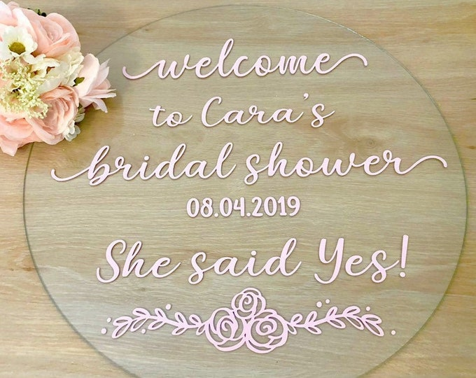 Bridal Shower Decal for Sign Making Decal for Chalkboard Mirror Vinyl Decal Bridal Shower She Said Yes Personalized Shower Decal
