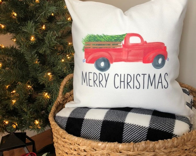 Merry Christmas Pillow Cover-Christmas Decor-Red Truck with Tree-Merry Christmas Farmhouse-Rustic Christmas Decoration-Holiday Pillow Cover