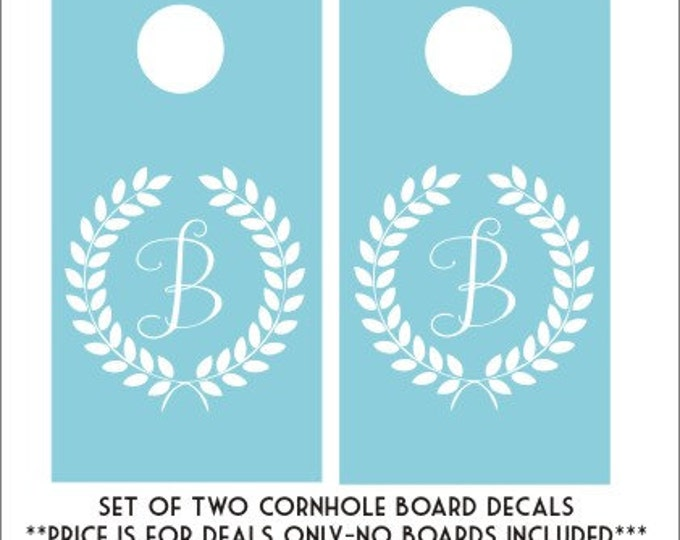 Monogram Cornhole Decals DIY Decals Set of Two Monogram Decals Laurel Wreath Monogram Vinyl Decals Wedding Decals Personalized Initial Decal
