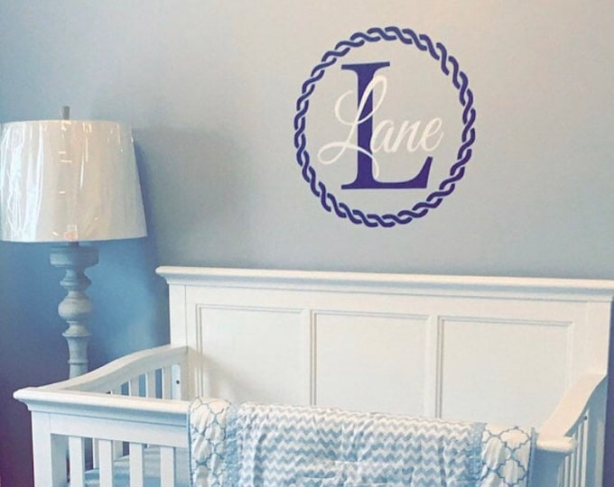 Nautical Wall Decal Boys Wall Vinyl Decal Nautical Nursery Decor Beach Ocean Themed Rope Border Monogram Decal Baby Boy Nautical Decal Name