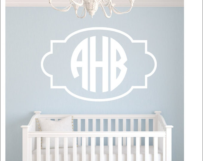 Monogram Wall Decal with Border Monogram Frame Vinyl Wall Decal Circle Block Monogram Boy Girl Nursery Bedroom Dorm Room Vinyl Wall Monogram