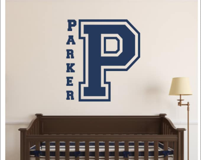 Boys Monogram Decal Wall Decal Varsity Letter Decor Sports Bedroom Decal Vinyl Wall Decal Nursery Bedroom Boys Football Athletic Decal