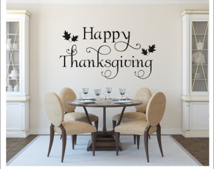 Happy Thanksgiving Decal Wall Decal Vinyl Wall Decal Vinyl Decal Thanksgiving Decal Thanksgiving Decor Holiday Decal Thanksgiving Decor