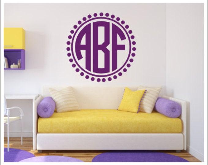 Monogram Wall Decal Personalized Wall Monogram Vinyl Decal Preppy Circle Monogram Decal Nursery Decal Bedroom Decal Girls Teen Vinyl Decal