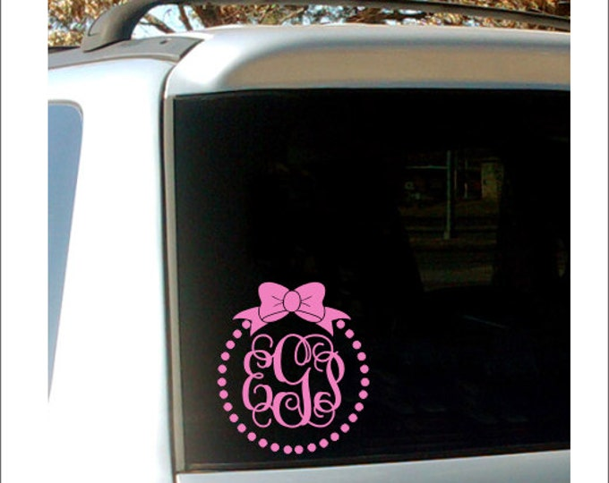Vine Monogram Car Decal Car Window Monogram Decal Personalized Preppy Car Decal Monogram with Bow Decal Polka Dot Decal Car Decal Custom Car