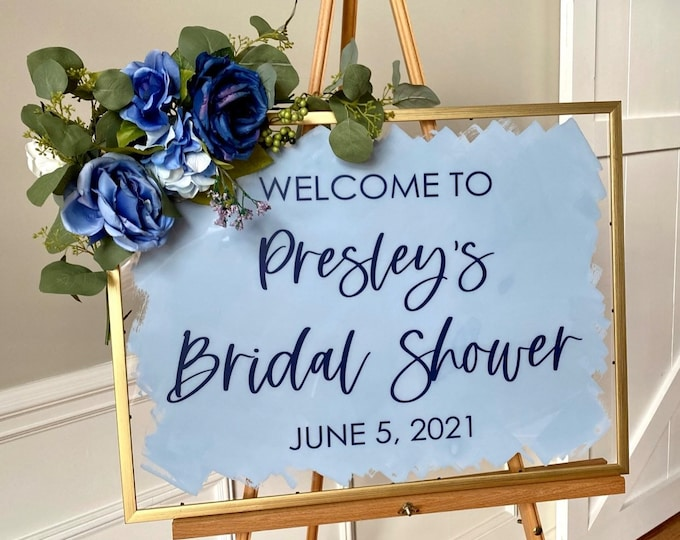 Bridal Shower Decal for Sign Making Modern Bridal Shower Decal Blue and Gold Dusty Blue Shower Decor Bridal Shower Welcome