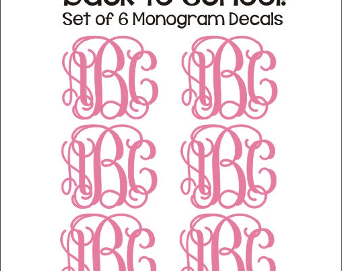 Set of Six Monogram Decals Small Vinyl Decals Monogram Decals Personalized Preppy Back to School Notebook Binder Folder Decals