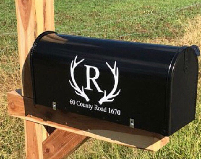 Antler Mailbox Decals Set of Two Vinyl Decals Rustic Country Mailbox Vinyl Decals Personalized Monogram Home Decor Curb Appeal
