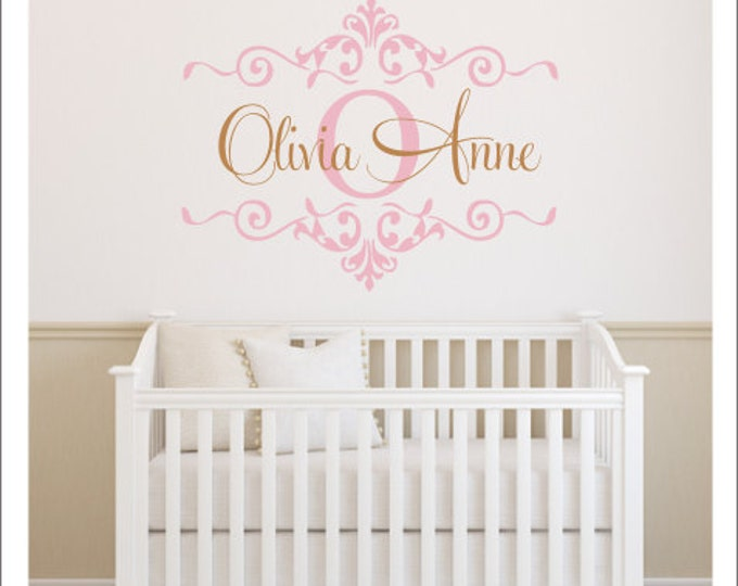 Girls Monogram Decal Nursery Wall Decal Girls Bedroom Decal Gold Wall Decal Metallic Gold Nursery Decal Wall Decal New Baby Blush and Gold
