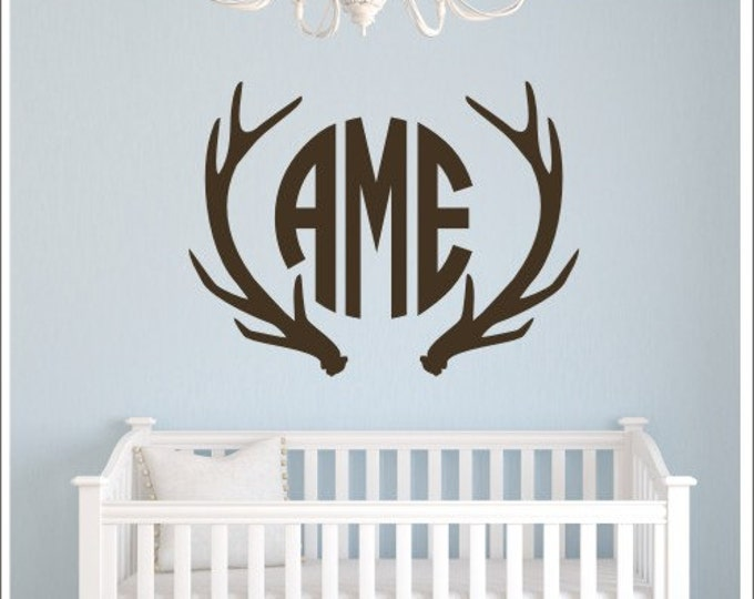 Antler Monogram Decal Nursery Wall Decal Bedroom Decal Antlers Buck Hunting Decal Personalized Decal Wall Decor Home & Living Wall Decals