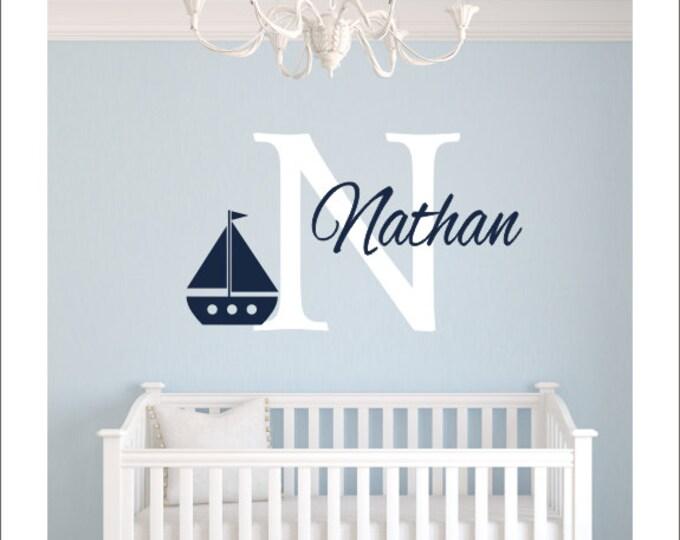 Personalized Sailboat Decal Nautical Sailboat Vinyl Wall Decal Kids Nursery Bedroom Wall Monogram Wall Decal Girls Boys Housewares