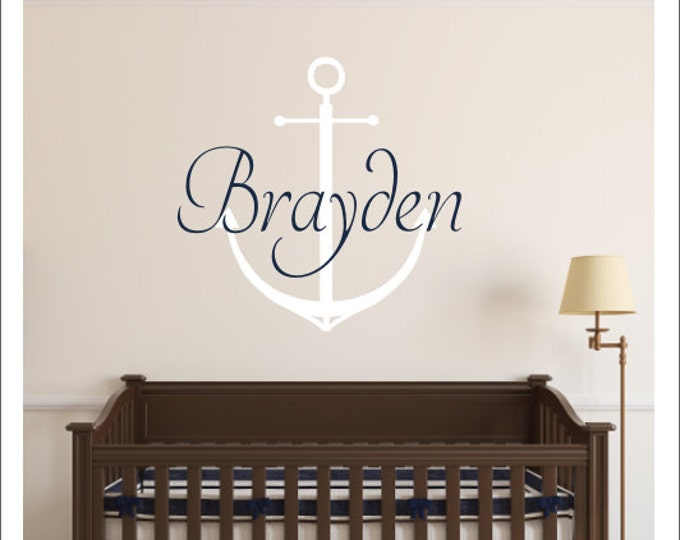 Personalized Anchor Decal Vinyl Wall Decal Large Name Anchor Vinyl Decal Nautical Nursery Bedroom Wall Decals Housewares Boy Girl Wall Decal