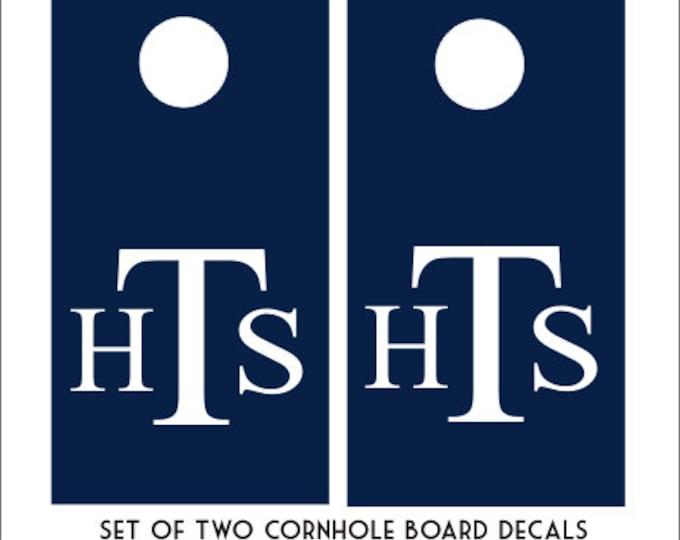 Monogram Cornhole Decals Set of Two Cornhole Board Game Decals Wedding DIY Decals Wedding Decor Personalized Bean Toss Board Decals Vinyl