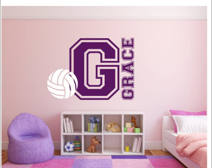 Volleyball Wall Decal Personalized Wall Decal Varisty Letter Nursery Bedroom Wall Decal Vinyl Wall Decals Sports Athletic Decal Volleyball