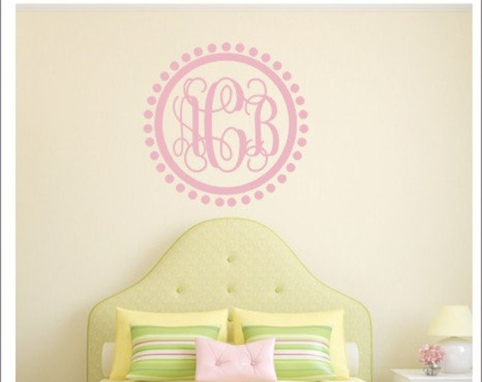 Vine Monogram Decal Polka Dot Monogram Decal Dot Border Wall Decal Girls Nursery Decal Bedroom Wall Decal Dorm Room Decal Vinyl Wall Decal