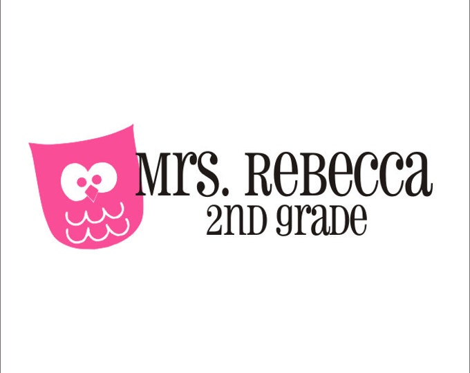 Teacher Name with Owl Vinyl Decal Wall Door Window Vinyl Decal Owl Classroom Teacher Name Personallized School Everything Else