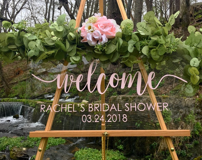 Bridal Shower Decal Sign for Wedding Shower Blush Personalized Wedding Shower Vinyl Decal Name and Date Rustic Simple Wedding Understated