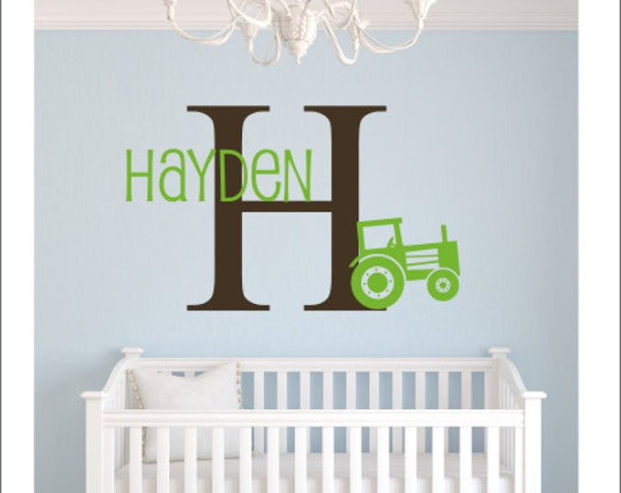Personalized Tractor Decal Boys Vinyl Wall Decal Set Tractor Decal Initial Decal Nursery Decal Bedroom Decal Country Boy Farm Decal Wall