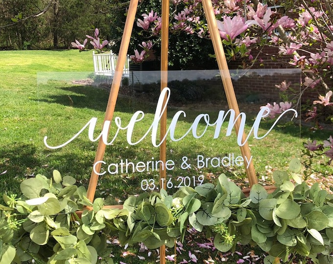 Wedding Decal Welcome Wedding Sign Vinyl Decal for Wedding Welcome Decoration Rustic Modern Wedding Decal Only Personalized Names and Date
