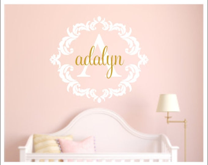 Personalized Damask Decal Vinyl Wall Decal Nursery Decal Bedroom Decal Girls Children Baby Vinyl Wall Decal Wall Decor Damask Monogram Decal