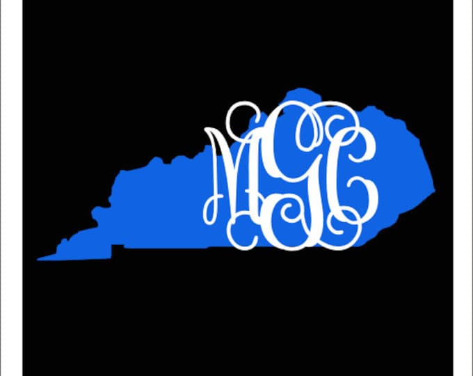 Kentucky Monogram Decal Car Decal Vinyl Car Decal State Pride Kentucky Girl Preppy Southern Car Decal Personalized Car Monogram Blue White