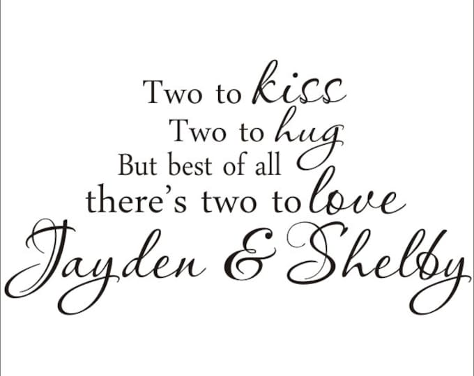 Twins Vinyl Wall Decal Large Nursery Bedroom Two to Kiss Two to Hug Housewares Twins Shared Bedroom Decal Twins Nursery Wall Decal Vinyl