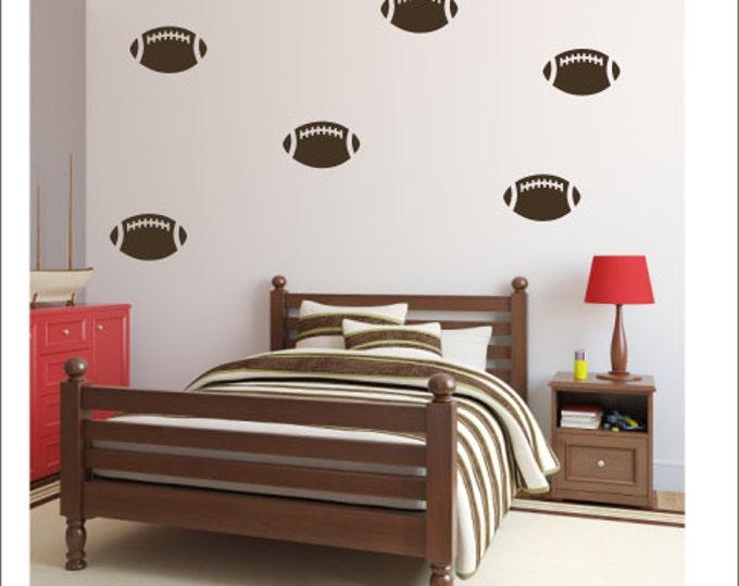 Football Wall Decal Set of Football Decals Sports Wall Decals Team Athletic Wall Decals Vinyl Decals Boys Football Nursery Boys Bedroom