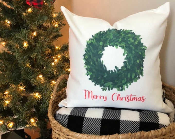 Christmas Pillow Cover Holiday Decor Rustic Farmhouse Pillow Cover Christmas Wreath with Bow Pillow Living Room Entryway Pillow Gift