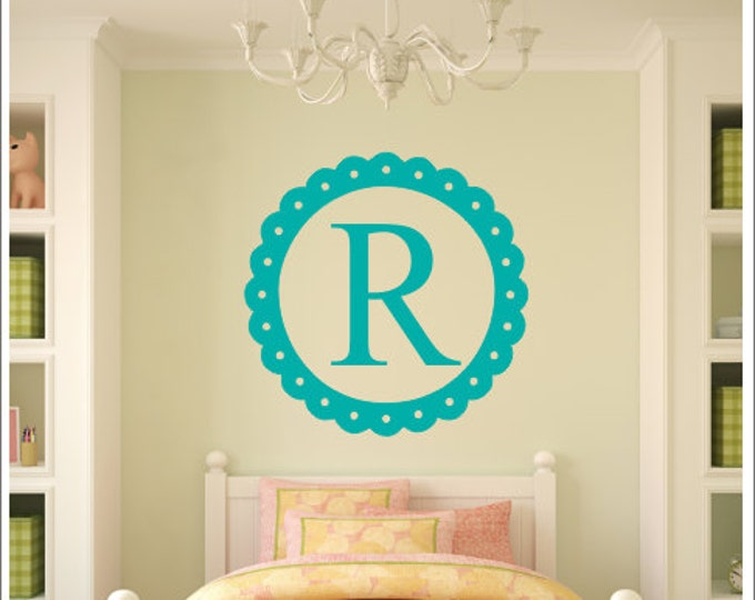 Personalized Wall Decal Monogram Border Decal Single Initial Decal Wall Decor Baby Nursery Decal Girls Bedroom Decal Vinyl Wall Decor Decal