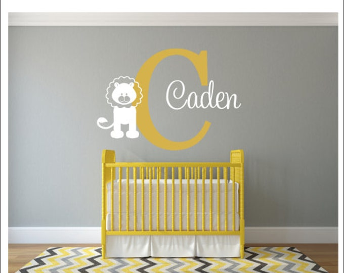 Personalized Wall Decal Name and Lion Wall Decal Nursery Decal Vinyl Wall Decals Baby Children Lion Nursery Jungle Decal Bedroom Decal