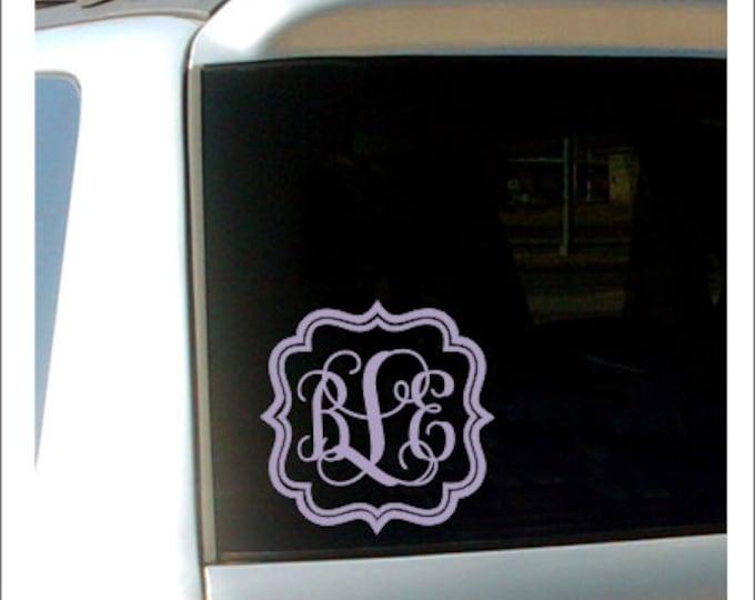 Vine Monogram Car Decal Vinyl Car Decal Preppy Southern Car Window Decal Custom Personalized Decal Vinyl Monogram  Fancy Script Monogram