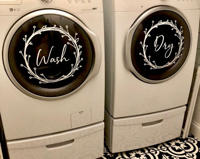 Farmhouse Laundry Decals Washer and Dryer Vinyl Decals Rustic Twig Wreath Wash and Dry Stickers for Laundry Room Home Decor Set of Two