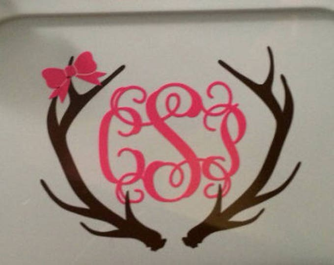 Antler Monogram Decal Car Deal with Bow Girly Hunting Car Decal Buck Antlers Monogram Decal Car Decal Southern hunting Personalized Decal