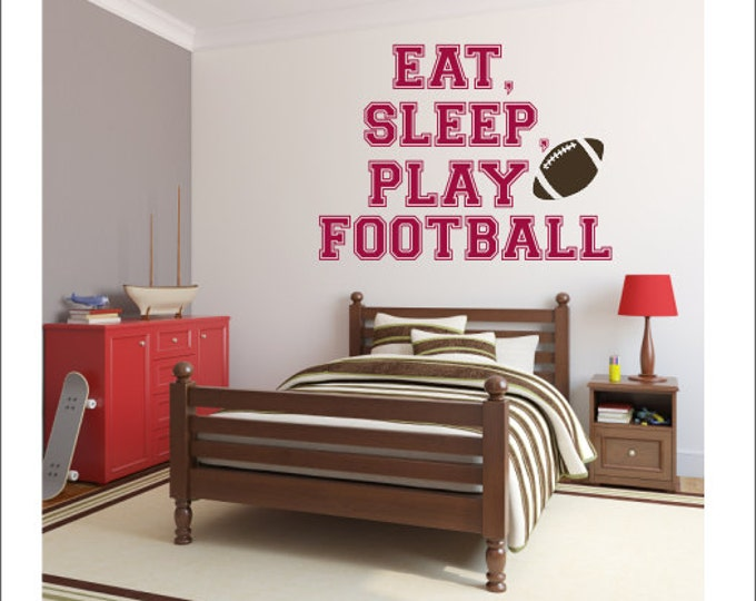 Eat Sleep Play Football Vinyl Wall Decal Football Wall Decal Vinyl Wall  Decal Sports Athletic Decal