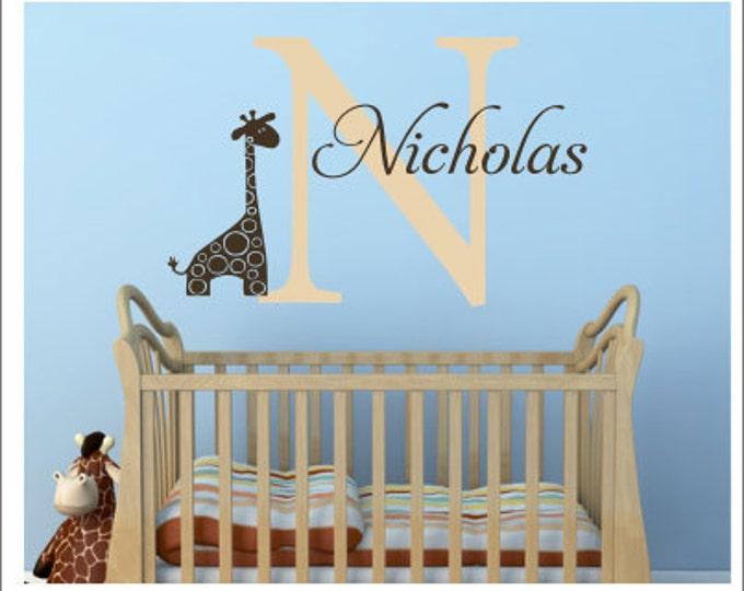 Personalized Giraffe Wall Decal Vinyl Decal Wall Decal Baby Boy Girl Nursery Decal Bedroom Decal Giraffe Jungle Theme Decal Children Kids