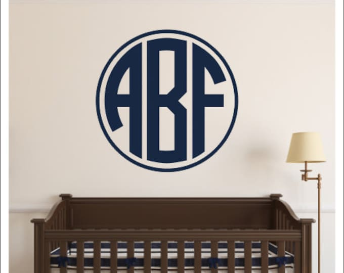 Monogram Wall Decal Vinyl Decal Vinyl Monogram Decal Boys Nursery Decal Bedroom Decal Preppy Wall Decal Personalized Decal Monogram Border