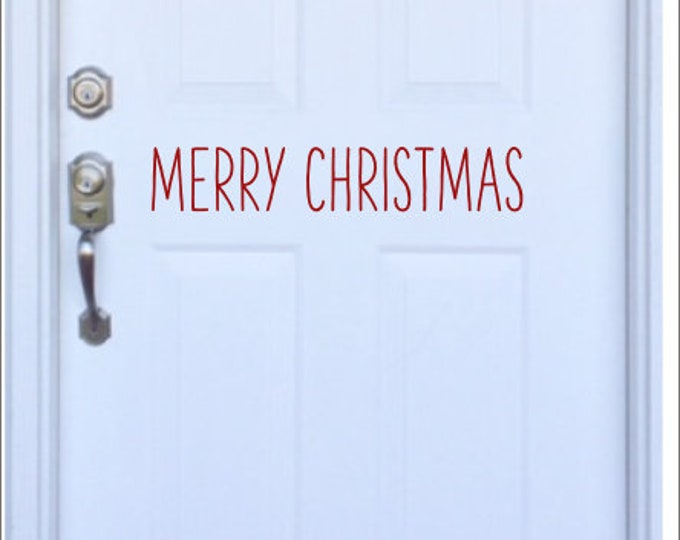 Merry Christmas Decal Vinyl Decor Door Decal Rustic Farmhouse Style Decal Farmhouse Lettering for Board Chalkboard Decal Holiday