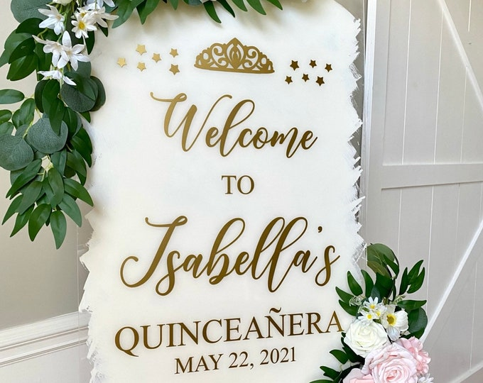 Quinceanera Decal for Sign Making Vinyl Decal for Quinceanera Welcome Sign Birthday Party Welcome Decal for Mirror Pink and Gold