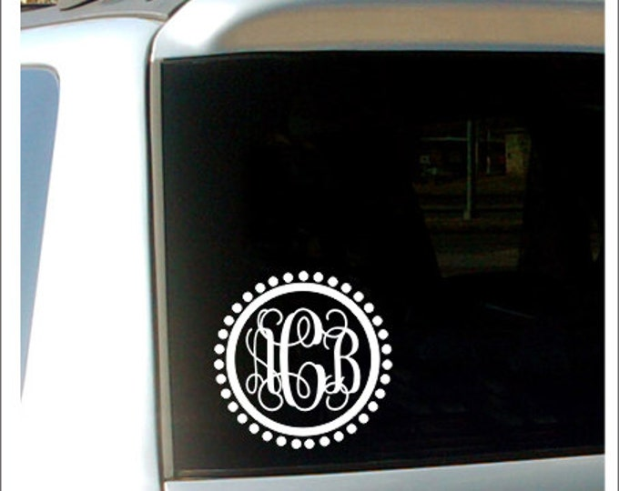 Vine Monogram Decal Personalized Decal Car Window Decal Preppy Car Decal Initial Car Decal Polka Dot Border Decal Girls Teen Vinyl Decal