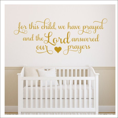 for this child we have prayed decal wall decal nursery decor vinyl