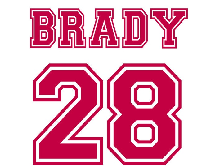 Varsity Letter Name and Number Vinyl Wall Decal Sports Boy Nursery Bedroom Decal